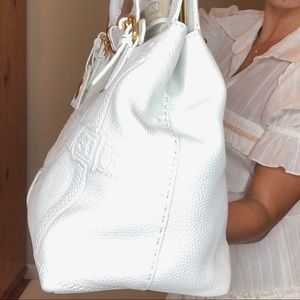 Fendi Bags - Fendi White Leather Villa Selleria Borghese Tote